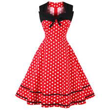 Women'S Vinatge Dress Polka Dot Print Swing Sleeveless Knee-Length Party Dress