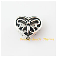 8Pcs Tibetan Silver Tone Heart Animal Butterfly Spacer Beads Charms 10x12mm