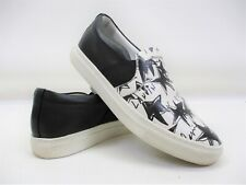 Lanvin Black White Stars Printed Leather Slip On Sneakers Size 38 EUR