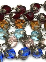"""† RELIC CRUCIFIX VINTAGE WORLD MISSIONS MULTI COLORFUL GLASS ROSARY 30"""" 46 GRS †"""