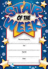 16 'Star Of The Week' A6 Reward Certificates Teachers Headmaster Praise School