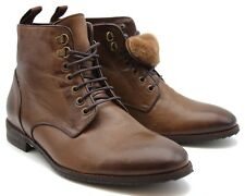 BRAND NEW REAL SHEEP FUR LINING BROWN LEATHER BOOTS SIZE UK 7 / EU 41