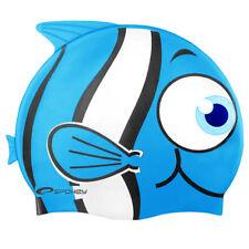 Kinder Silikon Badekappe Bademütze Badehaube Schwimm Cap Fisch Hai SPOKEY