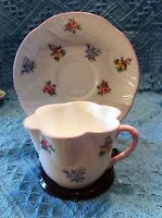 NOS VINTAGE CROWN STAFFORDSHIRE BONE CHINA CUP AND SAUCER FLORAL BOUQUET PATTERN
