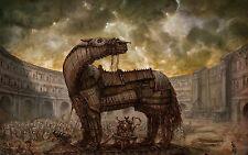 Lámina-Mitología Griega Caballo De Troya Foto Poster Fantasy Mitológicos