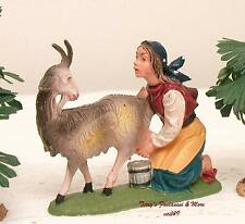 "FONTANINI DEPOSE ITALY 4"" COLOR GIRL MILKING GOAT NATIVITY VILLAGE FIGURE NEW"