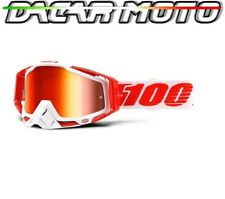 MASCHERINA OCCHIALI 100% RACECRAFT OFF ROAD MOTO CROSS LENTI SPECCHIO ROSSA