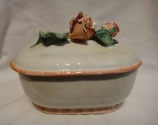 Horchow Porcelain Rose Trinket Box Made in Italy