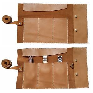 Geniune Leather Tan Brown Watch Roll Travel & Storage Roll Groomsmen Gift