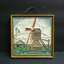 Vintage Delft Cloisonne Windmill Tile Dutch Holland