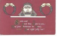 ~ARTS & CRAFTS STYLE~Christmas Postcard-SANTA CLAUS~EATING PLUM PUDDING~c23