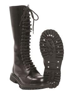 Mil-Tec Schuhe 20-Loch Invader Schnürschuhe Gothicschuhe Stiefel Schwarz 37-46