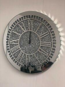 Diamante Crushed Crystal Bling Silver Mirror Jewel Wall Clock Roman 40cm Silent