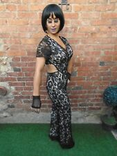 GLAMOROUS BLACK LACE FIGURE HUGGING BODYCON STRETCH JUMPSUIT PLAYSUIT ~ UK 12
