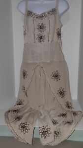 Unique 2 Pc Culotte Style Outfit BOHO Beige Tan Hippy Embroidered Floral S/M