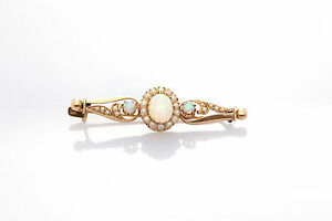 Antique Victorian 1800s 2ct Natural OPAL Gem Pearl 14k Gold Brooch Pin