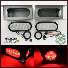 "LED Trailer Truck Steel Housing Box w/ 6"" OVAL Tail Light & 2"" Marker Light RED"