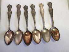 6 Oneida Souvenir State Spoons, Maine, Ny, Nh, Ri, Ma, Ct, State Seal, Eagle