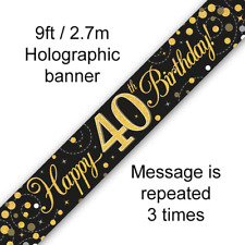 40th Birthday Party Sparkling Age 40 Black & Gold Foil Bunting Banner Decoration
