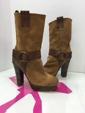 Frye Harmony Short Harness Tan Brown Waxed Suede Lays Boots Shoes 9M