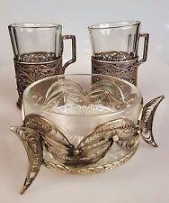 Untersatz Filigraner Teeglashalter Zuckerdose versilbert Russland 1920 j Samowar