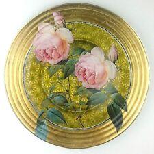 "Scott Potter Pink Roses Signed Decoupage Plate 12"""