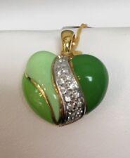 18k Yellow Gold Diamond Enamel Puffed Heart Pendant 3 Color Green Italy