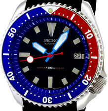 Vintage Watch SEIKO Diver 7002 Mod w/Neon Blue Plongeur & Red Lollipop SS Hands
