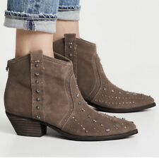 Sam Edelman Brian Studded Western Bootie Taupe Suede Heeled Pointed Toe 7 M NEW