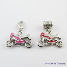 Enamel Motor Bike Charm Select European Bail or Clip on Clasp Pink or Red