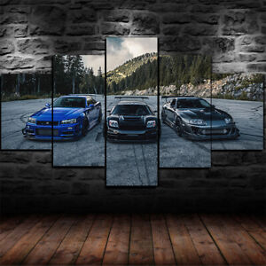 Framed NSX vs Skyline R34 vs Supra Poster Canvas Print Wall Art Decor 5 Piece