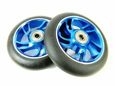 Owlsome 110mm Aluminum Core Scooter Wheels Blue (Set of 2) w/ ABEC 7 Bearings