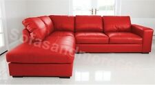 NEW WESTPOINT - CORNER SOFA - FAUX LEATHER- RED - LEFT HAND SIDE- FAST DELIVERY