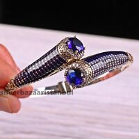 Turkish 925 Sterling Silver Sapphire White Zircon Ladies Woman Bracelet Bangle
