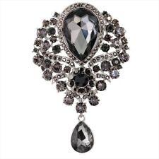 Shawl Brooch Badge Women Tassel Glass Pendant Crystal Brooch Pin Collar Pin