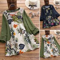 Vintage Femme Belle Imprimé floral Manche Longue Couture Shirt Haut Tops Plus