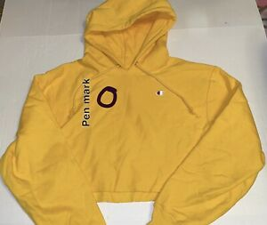 CHAMPION YELLOW CROPPED HOODIE SIZE LARGE PRE-OWNED