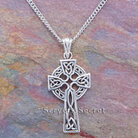 CELTIC CROSS Necklace celtic KNOT WORK Irish Pendant Sterling Silver 925