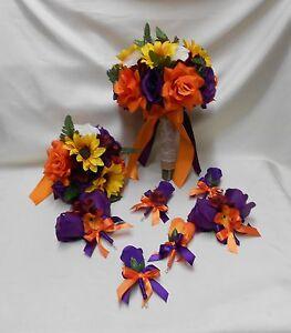 18 Piece Package Silk Flower Wedding Bridal Bouquet Fall Sunflower Purple Orange