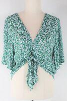 Sportsgirl green print tie front short sleeve blouse - as new - 8