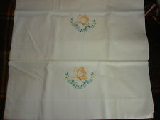 Vintage Cotton Embroidered PILLOWCASE PAIR Butterfly & Floral