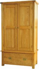 Pendle solid oak furniture double bedroom wardrobe with drawer