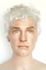 Gray White Grey Medium Wavy Men Wig