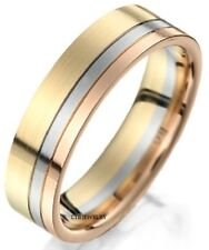 MENS RING 14K THREE TONE GOLD WEDDING BAND 6MM