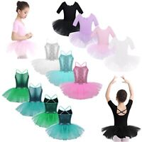 Girls Ballet Dance Dress Glitter Mermaid Gymnastics Tutu Dress Performing Wear