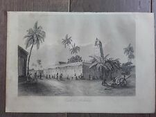 GRAVURE MARINE 1840 PAGODE A PONDICHERY INDE