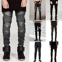 Men's Ripped Skinny Moto Biker Jeans Distressed Frayed Slim Denim Pants Trousers