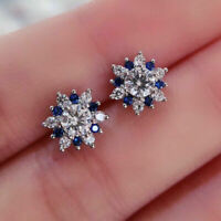2.00Ct Round Brilliant Cut Diamond Halo Stud Earrings 14K White Gold Over Silver