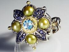 Barbara Bixby Swiss Blue Topaz Iolite Flower Kiwi Freshwater Pearl Ring Size 10