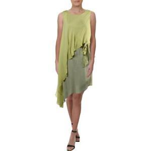 Halston Heritage Women's Silk Asymmetrical Sleeveless Colorblock Cocktail Dress